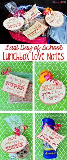Last Day of School Lunchbox Love Notes ~ Free Printable! | FiveHeartHome.com