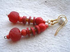 African red recycled glass and recycled vinyl by Fianaturals, $10.00