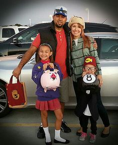 Gravity Falls Family Costumes with treat bags. Dipper, Wendy, Mabel, Waddles and Grunkle Stan