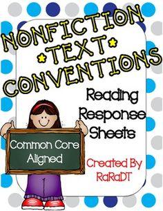 Nonfiction Conventions Reading Response Sheets - RaraDT - TeachersPayTeachers.com