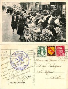 Nice - Le Marché aux Fleurs - 1947 (from http://mercipourlacarte.com/picture?/1855/)
