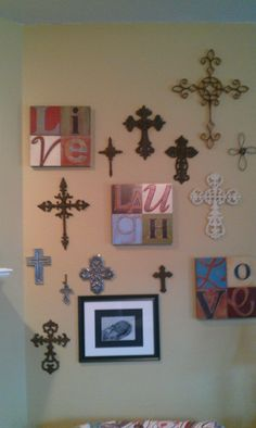 My cross wall...I love crosses of all types!