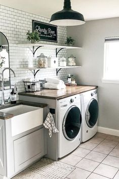 Rustic Laundry Rooms, Modern Laundry Rooms, Laundry Room Shelves, Laundry Room Remodel, Laundry Decor, Laundry Closet, Laundry Room Organization, Laundry Room Design, Organization Ideas