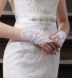 MisShow Lace Fingerless Rhinestone Bridal Gloves for Wedding Party, White, One Size at Amazon Women's Clothing store: