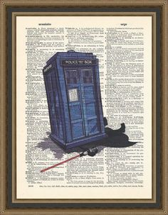 Doctor Who - Tardis versus Darth Vader - illustration is printed on a vintage dictionary page. Doctor Who Print, Darth Vader Print, Poster.