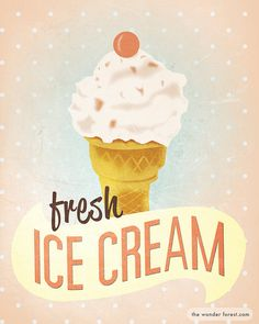 Fresh Ice Cream Retro Vintage Style 8x10 Art Print by WonderForest. , via Etsy.
