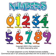 Funny cartoon numbers clipart for teachers