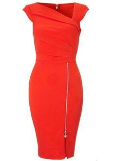 Amazing Short Sleeve Zipper Closure Red Mini Dress modlily