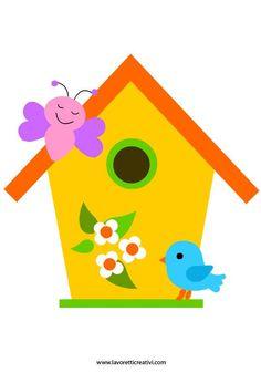Sagome Primavera: casetta uccelli in primavera Good site for picture stencils and paper craft Bird Crafts, Easter Crafts, Felt Crafts, Diy And Crafts, Crafts For Kids, School Board Decoration, Class Decoration, School Decorations, Drawing For Kids