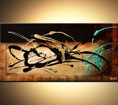 Original abstract art paintings by Osnat - black and turquoise modern splash painting