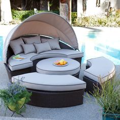 Amazing Outdoor Daybed for Your Relaxing Time: Fabulous Round Sectional Outdoor Daybed With Upholstery Round Ottoman Coffee Table Feat White Canopy In Grey Patio Flooring Backyard Furniture Decor Tips