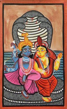 Vishnu and Lakshmi (Kalighat Painting - Water Color on Paper - Unframed))