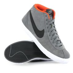Nike Bruin Mid Grey Leather Womens Trainers 6f353c721
