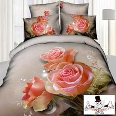 3D Three Pink Rose Bedding Set and Quilt Cover http://qwerkyquilts.com/collections/new-quilt-cover-designs/products/3d-three-pink-rose-bedding-set-and-quilt-cover