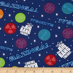 The Big Bang Theory Bazinga Glow Navy/Multi from @fabricdotcom  Licensed by TM & Warner Brothers Entertainment to David Textiles, this cotton print fabric is perfect for quilting, apparel, crafts, and home decor items. Colors include navy, purple, white, teal, red, lime, orange, and yellow.