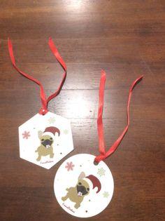 Handmade Christmas Frenchie ornaments, Fawn French Bulldog, Christmas decor (ornament)