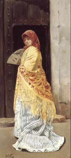 the yellow shawl - Jose gallegos arnosa 1881