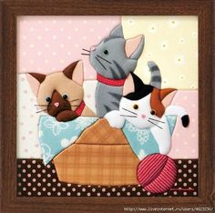Crochet Cat Applique Pictures Ideas For 2019 Cat Quilt Patterns, Patchwork Patterns, Applique Patterns, Applique Quilts, Applique Designs, Mini Quilts, Baby Quilts, Crazy Quilting, Patch Quilt