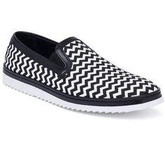 Dolce & Gabbana Chevron Skater Sneakers (10,300 MXN) ❤ liked on Polyvore featuring men's fashion, men's shoes, men's sneakers, apparel & accessories, mens skate shoes, mens slip on sneakers, mens slip on shoes, mens shoes and mens woven leather slip-on shoes
