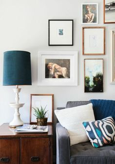 Lamp makeover: spray paint the lamp in glossy white; use fabric paint for the shade