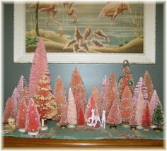 Love these miniature pink bottle-brush trees!  I like the scale but would do evergreen trees instead.
