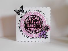 Tonic intrica dotty lace circle doily die set, Tonic pop up Happy Birthday.