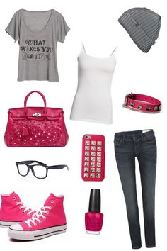 Pink converse outfit - I'd prob switch to low tops.