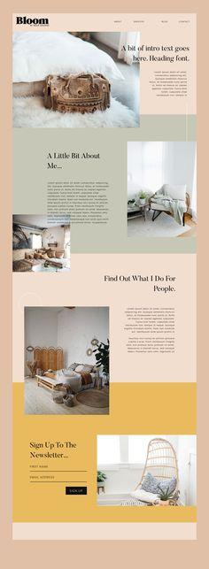 Bloom Feminine Wordpress Theme by Snug Designs - - Website Layout, Simple Website Design, Website Design Inspiration, Web Design Inspiration, Modern Website, Design Ideas, Minimal Web Design, Modern Web Design, Best Free Wordpress Themes