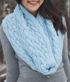 Free Knitting Pattern for Braided Cables Infinity Scarf - Cable infinity scarf knit flat and seamed in bulky yarn. Designed by Leelee Knits who allows you to sell your finished projects. Matching hat pattern available.