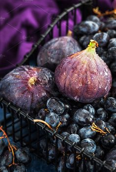 Fresh figs and purple grape  by Kate Smirnova  on @creativemarket