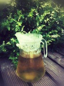 Une recette très simple pour une boisson très agréable l'été : une bouilloire d'eau chaude à verser dans une carafe avec une bonne poignée de feuille de menthe(il en pousse de partout là où je suis) et un peu de sucre(à doser selon ses préférences). laisserrefroidirune heure ou