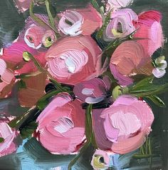 Pink Ranunculus no. 4 Original Floral Oil Painting by Angela Moulton