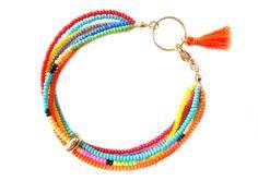 Multi Strand Frindship Bracelet - Colorful Seed Bead Bracelet - Beaded Gold Bracelet - Tassel Bracelet - Hippie Bracelet - Hippie Jewelry by HippieThings on Etsy https://www.etsy.com/listing/201122312/multi-strand-frindship-bracelet-colorful