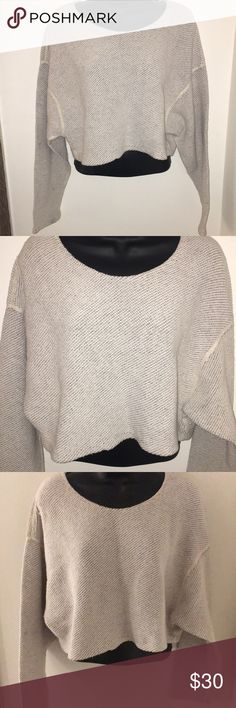 *American Apparel* Long sleeve crop sweater Cotton/s acrylic sweater , loose fitting crop top with long sleeves. Great condition, one size American Apparel Sweaters Crew & Scoop Necks