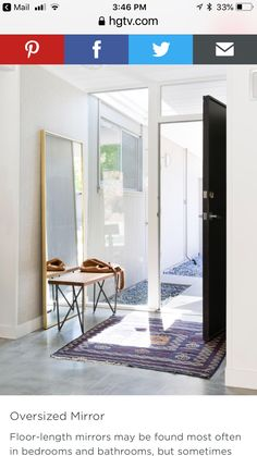 How to Design a Stylish Entryway A proper entryway sets the stage for the rest of your home. Dining Room Mirror Wall, Hallway Mirror, Dining Room Walls, Foyer, Entryway Table Modern, Entryway Tables, Full Length Mirror Entryway, Small Entrance, Front Entry
