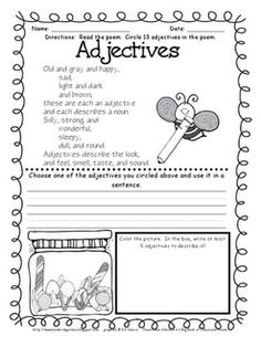 free adjectives poem