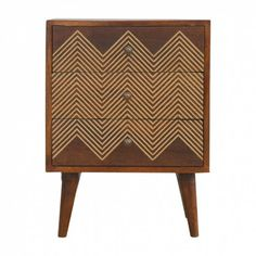 Wholesale Brass Inlay Chevron Bedside with 3 Drawers UK Drop shippers Suppliers to the Trade. Free UK Delivery, - Brass Inlay Chevron Bedside with 3 Drawers Retro Bedside Tables, 3 Drawer Bedside Table, Bedside Cabinet, Bedside Drawers, Nightstand Lamp, Handmade Furniture, Painted Furniture, Furniture Design, Bedroom Furniture
