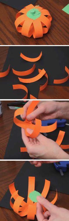 Paper Pumpkins | 20+ DIY Halloween Crafts for Kids to Make