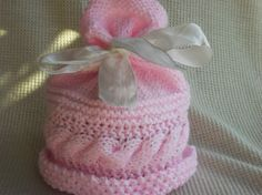Pink baby hat by ArdSolas on Etsy, £6.50
