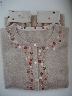 love this embellished sweater Embroidery Fashion, Beaded Embroidery, Embroidery Stitches, Hand Embroidery, Embroidery Designs, Sewing Hacks, Sewing Crafts, Altered Couture, Embroidered Clothes