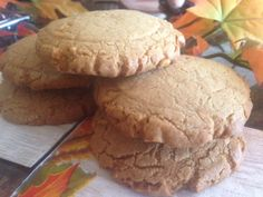 MONSTER PEANUT BUTTER COOKIES * big, thick, soft & puffy * smooth or crunchy PEANUT BUTTER * white & brown sugars or Splendas (sugar-free) * each cookie = 2 or 3 regular fork-flattened pb cookie