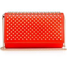 Christian Louboutin Paloma Clutch (€1.045) ❤ liked on Polyvore featuring bags, handbags, clutches, louboutin bags, capucine, red clutches, leather purses, genuine leather purse, leather clutches and red purse