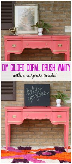 Gilded Coral Crush Vanity with Chakboard