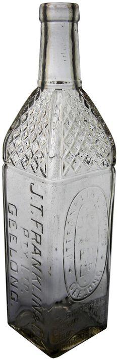 J T Franklin & Co Pty Ltd Geelong. Fancy shouldered vintage cordial bottle. c1930