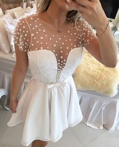 Sexy Sheer A Line Short Sleeve Pearls Lace Short White Homecoming Dresses 2017 with Buttons Bow Semi Formal Cocktail Dresses 2016 Homecoming Dresses, Bridesmaid Dresses, Prom Dresses, Formal Dresses, Wedding Dresses, Dresses 2016, White Cocktail Dress, Short Cocktail Dress, Cocktail Dresses