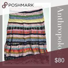 Patchwork Anthro skirt Brand is Parmesan purchased from Anthropologie.   Zipper & hook closure. Lots of movement in skirt Prices are as listed and nonnegotiable ✅Use the Bundle Feature to receive 10% off 2 + items & save on shipping ❌But there are no additional discounts Anthropologie Skirts Midi