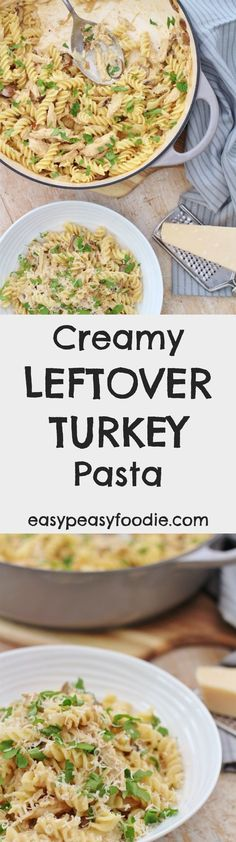 Need an easy peasy recipe for using up your leftover roast turkey? Then you need to try my Creamy Leftover Turkey Pasta. No leftover turkey? No worries, this simple alfredo pasta recipe can be made with leftover chicken or see below for how to 'create' some turkey leftovers! #cream #turkey #leftovers #leftoverturkey #turkeyleftovers #leftoverroastturkey #christmas #boxingday #pasta #christmasleftovers #boxingdayleftovers #easychristmas #easypeasychristmas #easypeasyfoodie #cookblogshare