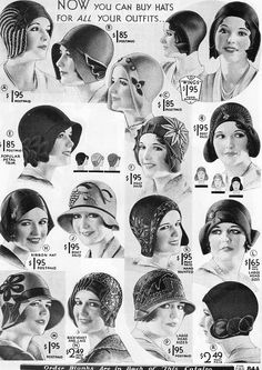 vintage hats from 1930's catalog. Old advertisements are incredible. It's great to see the progress we made in advertisement.
