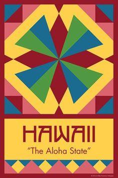 Olde America Antiques | Quilt Blocks | National Parks | Bozeman Montana : 50 STATE QUILT BLOCK SERIES - HAWAII - version 1