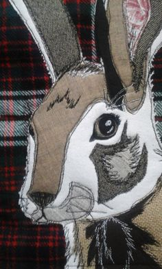 Patchwork Appliqued Hare/Rabbit Cushion by PaddyMacDesigns on Etsy